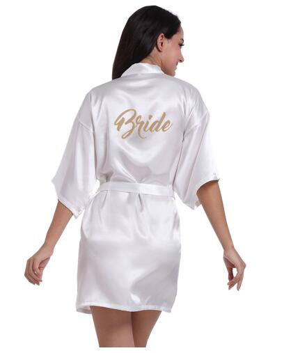 Sleepwear Ready-Robes Short Satin Wedding Kimono Silk Bride Sexy Women Gold-Letter of