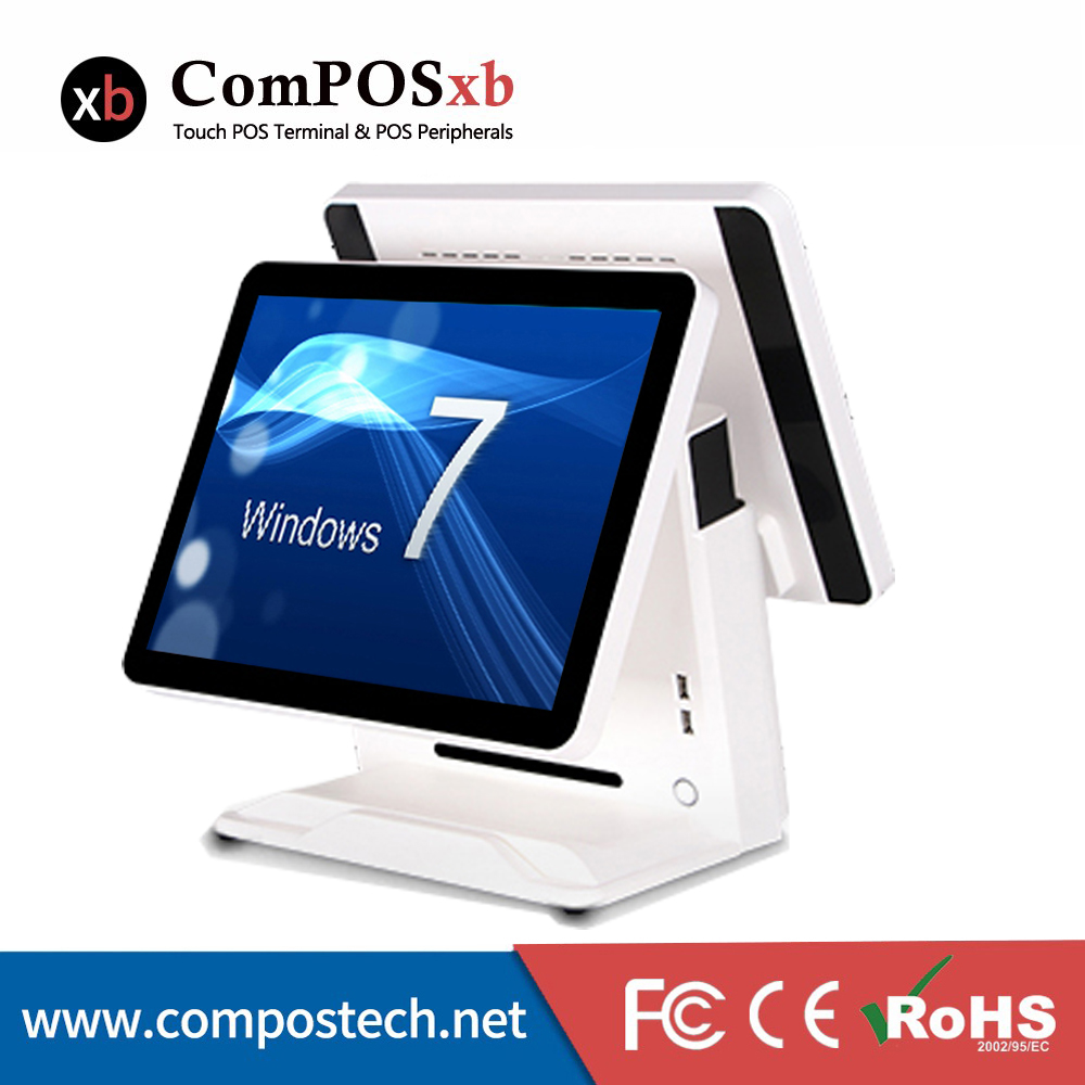 Free Shipping 15 inch TFT LCD Capacity Touch Screen Truth Flat Dual Monitor All In Pos System For Supermarket And Restaurant 15 inch tft lcd touch screen monitor core i3 touch screen pos all in one restaurant epos system with msr customer display
