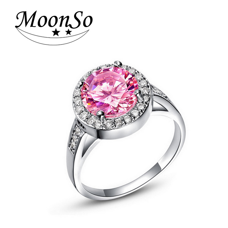Moonso Blue Sapphire Ring Pink Round CZ Diamond Engagement Ring High  Quality Rings for Women Wedding Engagement Moonso R659