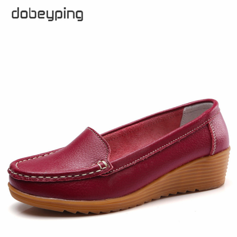 New Spring Autumn Shoes Woman Slip On Women Loafers Female Moccasins Shoe Genuine Leather Mother Shoes Solid Ladies Ballet Flats women shoes slip on loafers women flats genuine leather footwear ladies shoes spring autumn flat shoes woman 2018 female flats