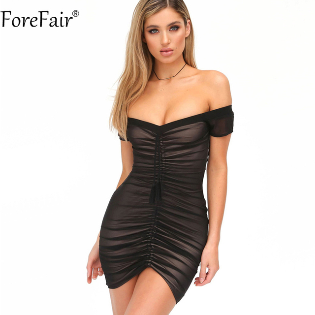 375127d0bfd ForeFair Black White Sexy Off Shoulder Mini Night Club Summer Dress 2018  Women Wrinkles Wrapped Mesh