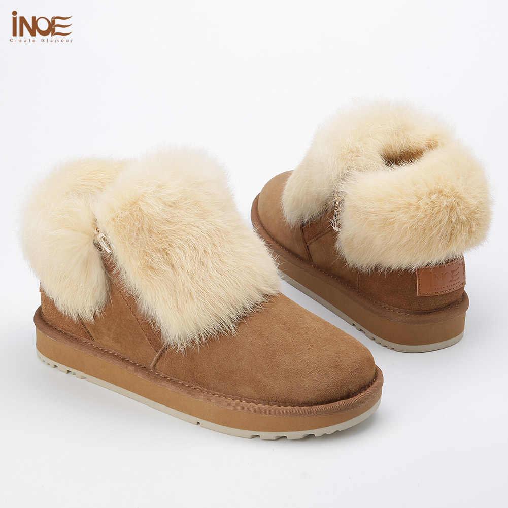 INOE moda hakiki koyun derisi deri kadın tavşan kürk kısa ayak bileği kış kar botları kadınlar için fermuar ile kış ayakkabı daireler