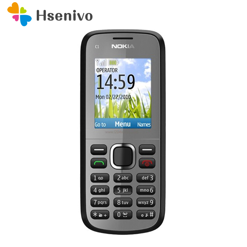 C1-02 Nokia Original Unlocked C1-02 One Sim Card Mobile Phones GSM Bar Cellphones One Year Warranty  Refurbished