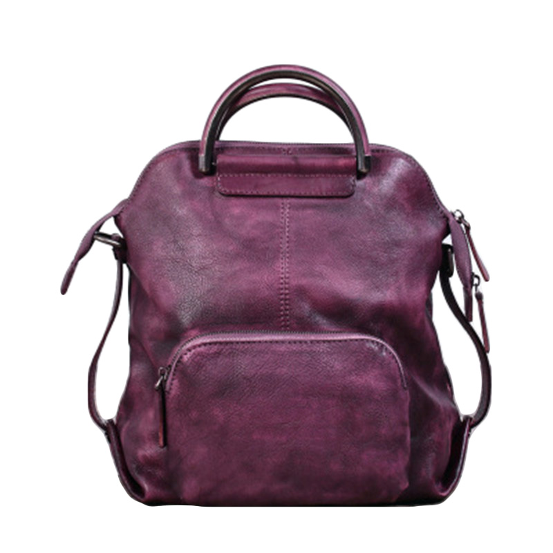 Vintage Three-way Multifunctional Designer Genuine Leather Girls Women Small Travel Backpack Cowhide Ladies Soft Green Bag Pack