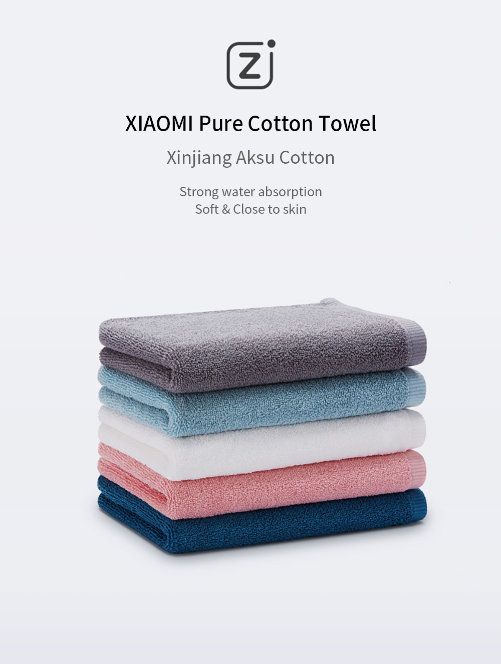 Hot Sale Original Xiaomi Zsh Towel Mi 100% Cotton Absorption Water Towel High Quality Young Series Xiaomi Facecloth Towel Smart Remote Control