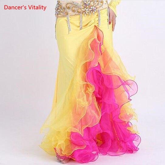 Image 3 - Женская цветная юбка с Боковым Разрезом, платье для танца живота, костюм для Хэллоуина, костюм для танца синего, розового, белого цветов, два цвета, бесплатная доставкаТанец живота    АлиЭкспресс