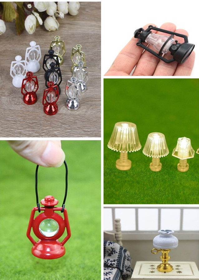 1/2Pcs Retro Oil Lamp Dollhouse Miniature Toy Doll Food Kitchen Living Room 1:12 Scale Accessories Dollhouse Lawn Lamp Lighting