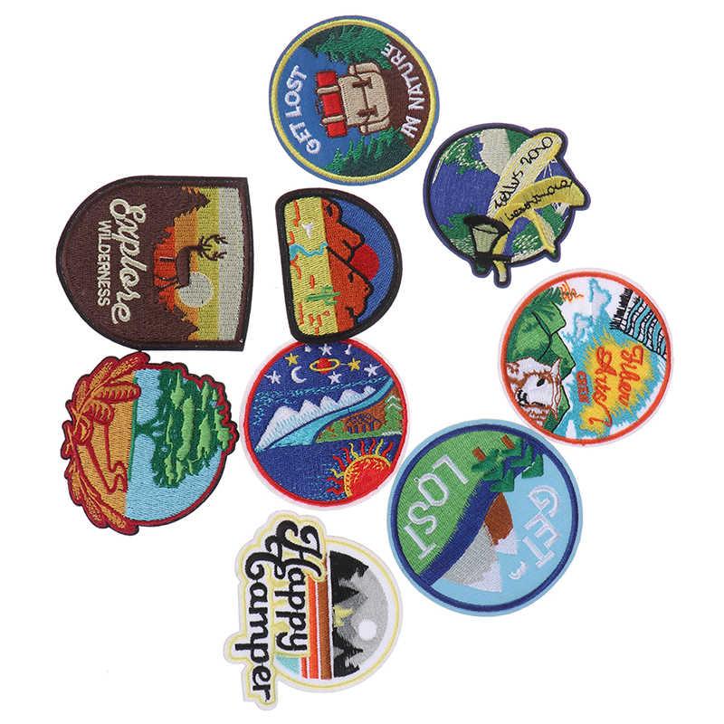 Vervoer Borduurwerk Ronde Patches Voor T-shirt Ijzer Op Strepen Kleren Stickers Naaien Toepassingen Hippie Badges