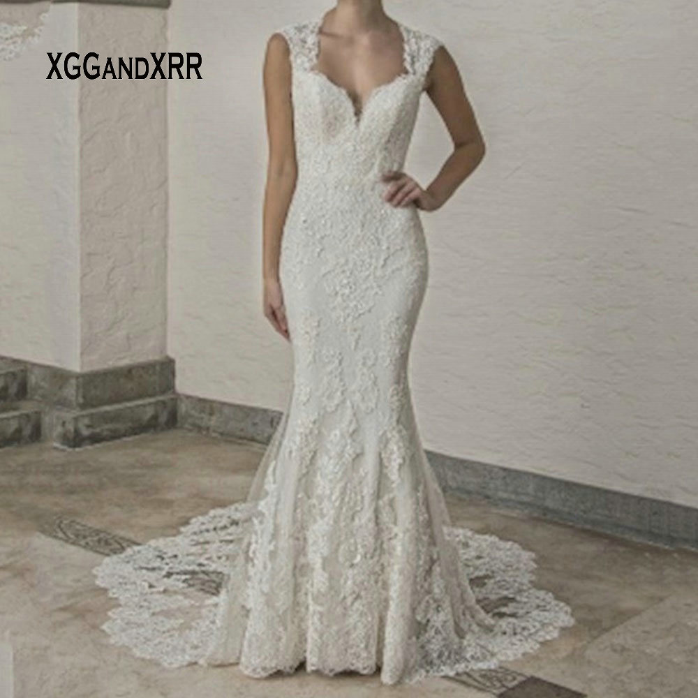 Image 4 - Luxury Lace Mermaid Wedding Dress 2019 Sweetheart Cap Sleeves Backless White Dress Cathedral Train Gelinlik Vestido De Noiva-in Wedding Dresses from Weddings & Events