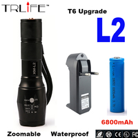 High Quality Waterproof 3000lm CREE XM L2 T6 LED Flashlight Torch Zoomable Lamp Light 1x Rechargeable