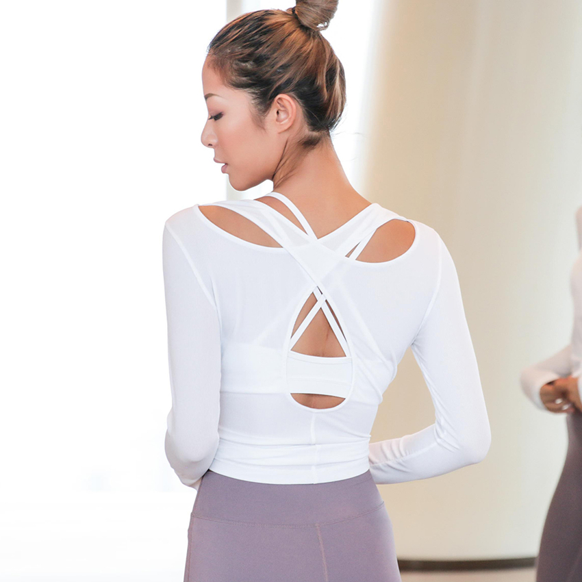 Oyoo white shirt women cross back yoga top activewear workout clothes black open back sports tops gym fitness long sleeve blouse