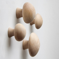 Collalily Mushroom Nordic Wood Modern Design Wall Clothing Robe Hook Coat Racks For Corridor Hook Rails