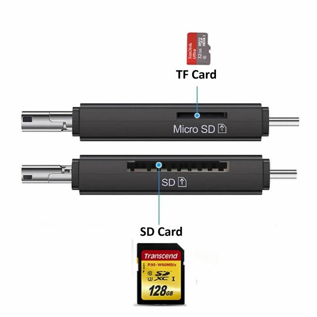 Electop Type C Micro USB USB 3 In 1 OTG Card Reader High-speed USB2.0 Universal OTG TF/SD for Android Computer Extension Headers 5