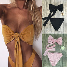 Solid Sexy Women Free Bandage Push-up Two Pieces Beach Swimsuit Bathing Suit Swimwear Beachwear Yellow Pink Black