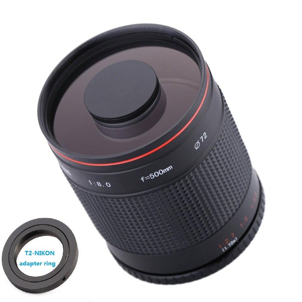 Teleskopický zrcadlový objektiv 500 mm F8.0 s adaptérovým kroužkem T2-AI pro fotoaparát Nikon D3000 D3100 D7000 D80 D90 D7100 D5100