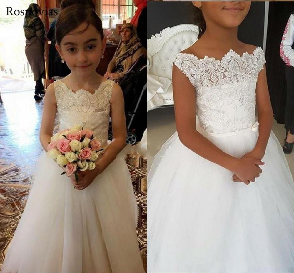 Dentelle fleur fille robes pour les mariages Scoop Appliques perlé enfant fête d'anniversaire première Communion robes filles robes de reconstitution historique