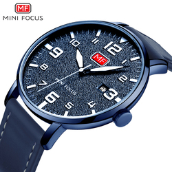 MINI FOCUS Men's Quartz Sport Watch Slim Date Clock Mens Watches Brand Luxury Male Blue Leather Military Watch relogio masculino