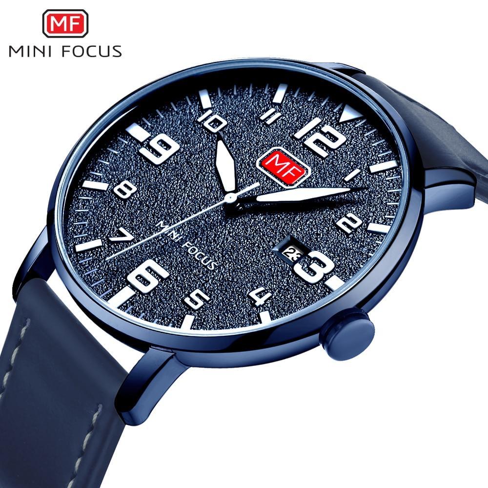 MINIFOCUS Men's Quartz Sport Watch Slim Clock Mens Watches Brand Luxury Male Blue Leather Military Wrist Watch relogio masculino