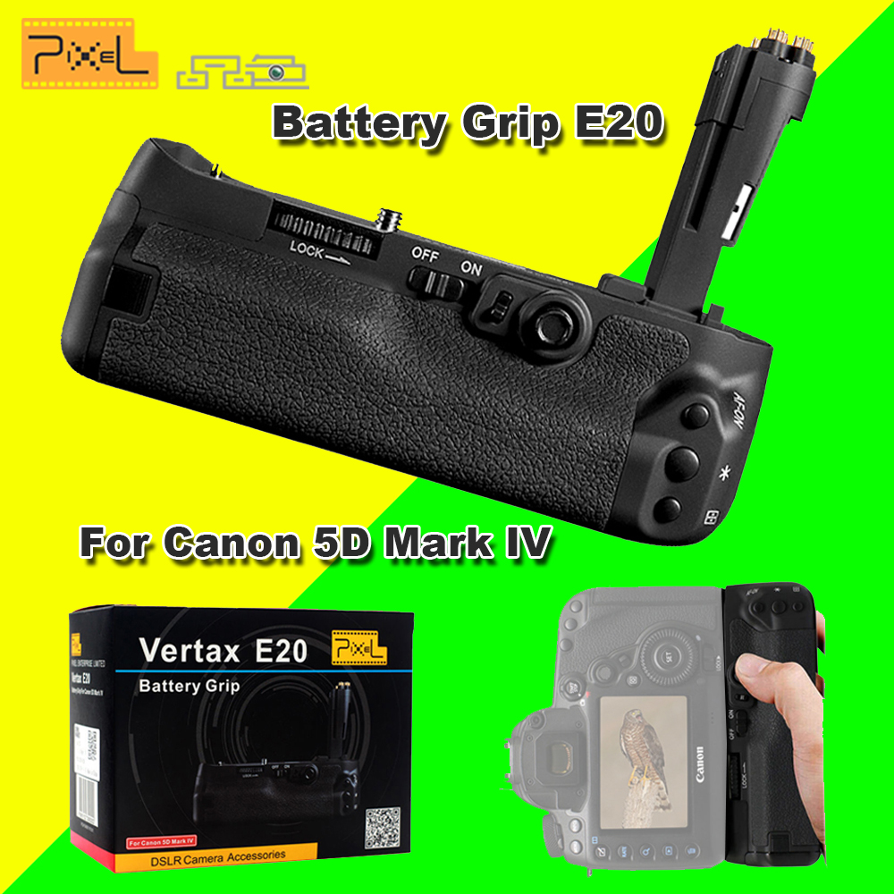 Pixel Vertax E20 Battery Grip e20 Compatible for LP-E6 LP-E6N Battery for Canon 5D Mark IV 5D MarkIV 5D4 Replacement for BG-E20 meke mk 5d4 pro battery grip with wireless remote for canon 5d mark iv camera canon bg e20 compatible forlp e6 lp e6n battery