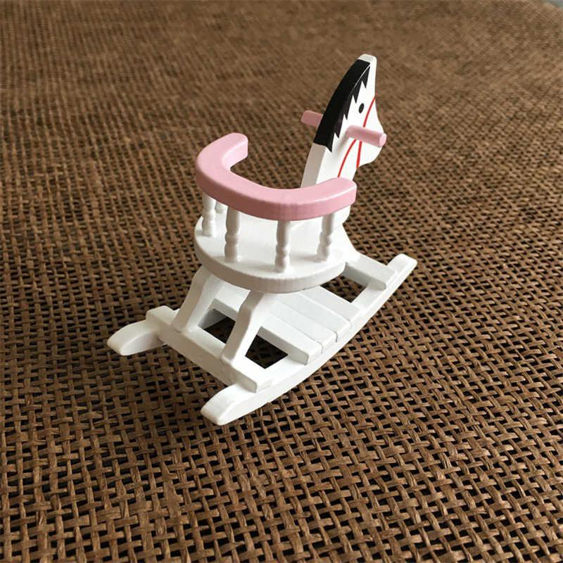 1:12 Dollhouse Miniature Furniture Kayu Kuda Goyang Kursi Untuk Anak-anak Action Figure Boneka Dekorasi Rumah Boneka Aksesoris Baru