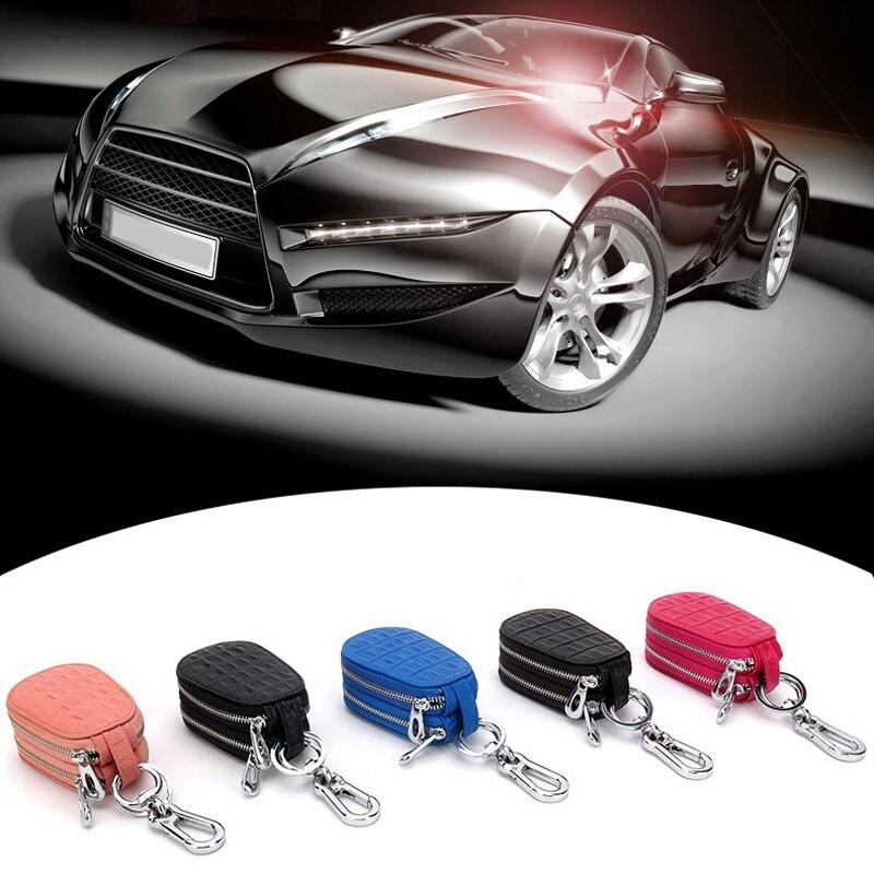 High Quality Key Wallets Fashion Casual Car Key And Home Key Bags Genuine Leather Hardwear Durable Double Zipper Design Waist