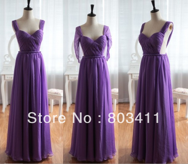 Freeshipping Real Pictures Floor-length Purple Chiffon   Bridesmaid     Dresses