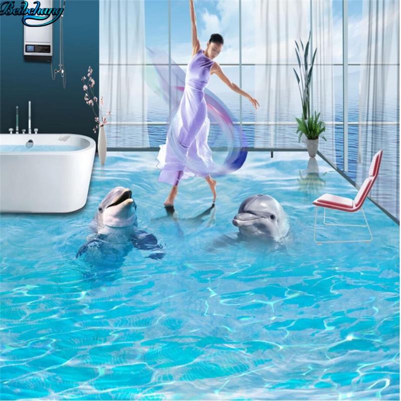 Beibehang grand plancher personnalisé paire de dauphins 3D océan plancher cuisine toilette salle de bains chambre peinture décorative