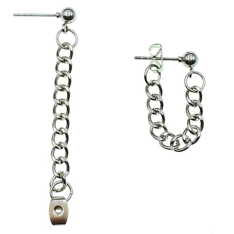 Simple de moda punk pendientes de cadena de las mujeres coreanas minimalista pendientes de joyería venta al por mayor de accesorios