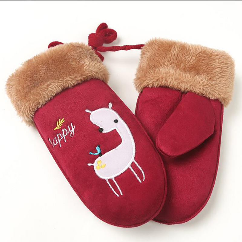 Children's Lovely Cartoon Suede Leather Mittens Boys Girls Winter Thickening Warm Print Sheep Glove Baby Clothing Accesories
