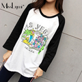 MissLymi Plus Size Women Casual Tops 2017 Spring Summer Loose O-neck Cartoon Clown Print Patchwork Long sleeve T-shirt