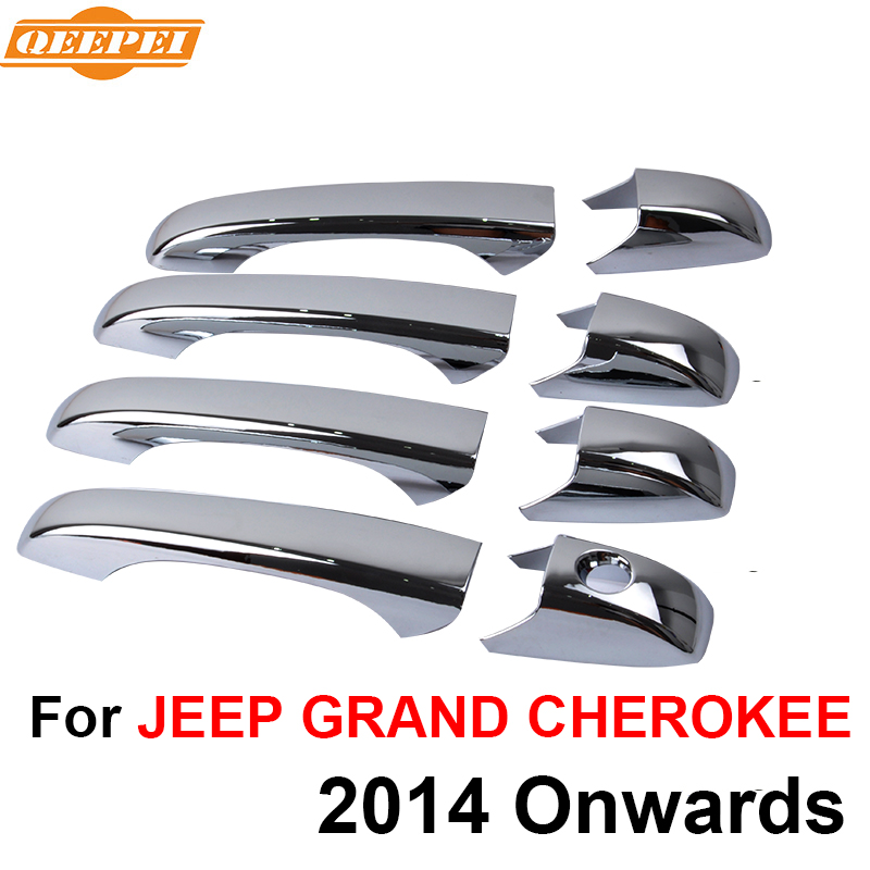 Qeepei 8pcs Car Exterior Door Handle Cover For Jeep Grand Cherokee 2014 2015 2016 Accessories