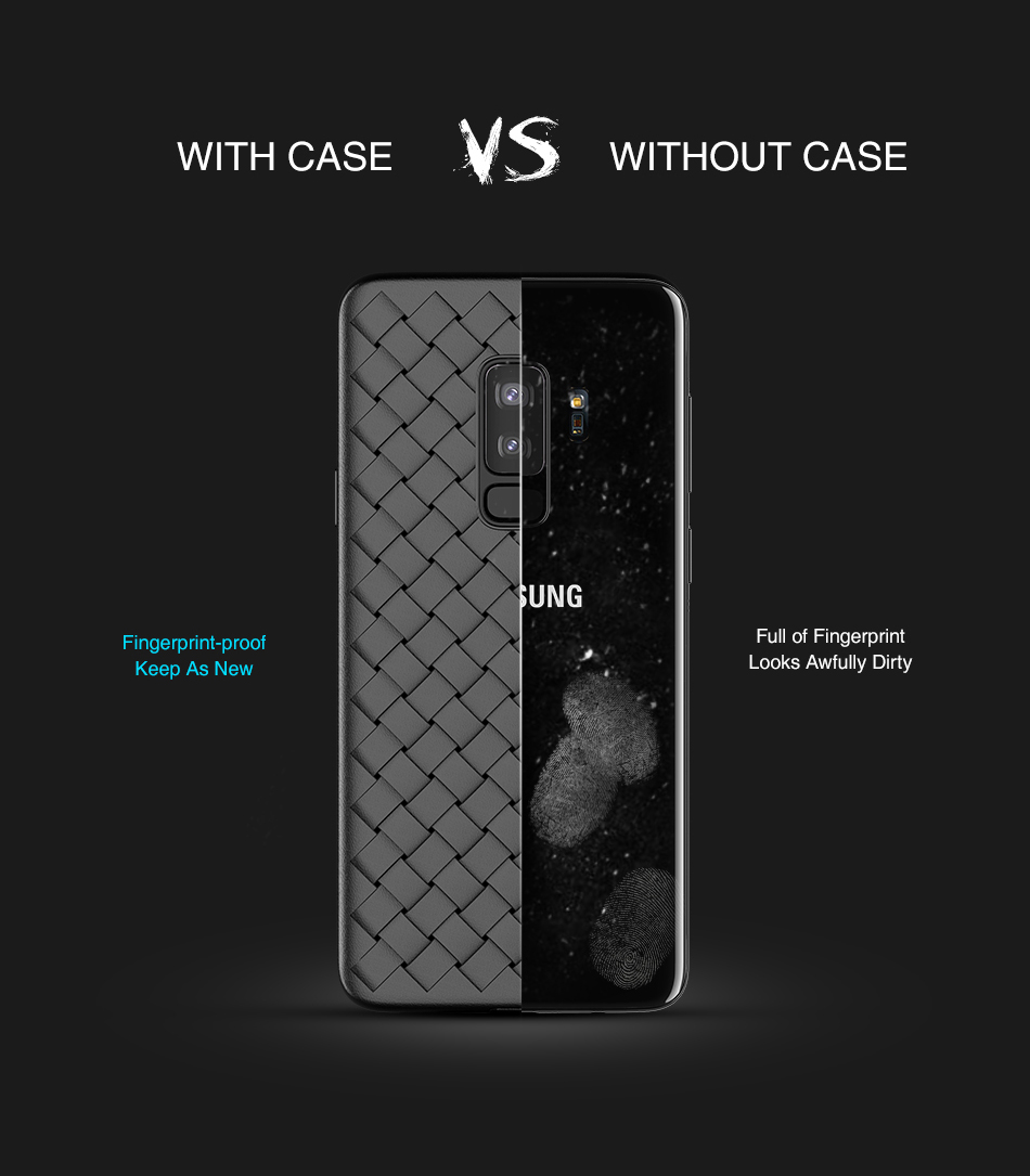 FLOVEME Grid Weaving Phone Case For Samsung S9 Case Luxury Black Super Soft Cover For Samsung S9 Plus Case Silicone TPU Business (3)