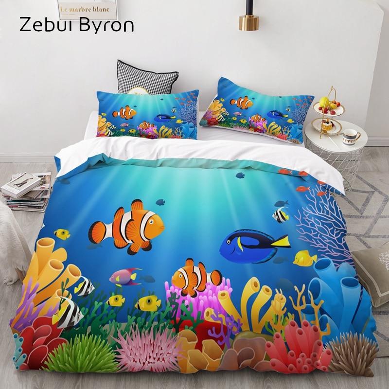 3D Cartoon Bedding Set For Kids/Baby/Children/Boy/Girl,Duvet Cover Set Custom/Europe/USA,Quilt/Blanket Cover Set Ocean Fish