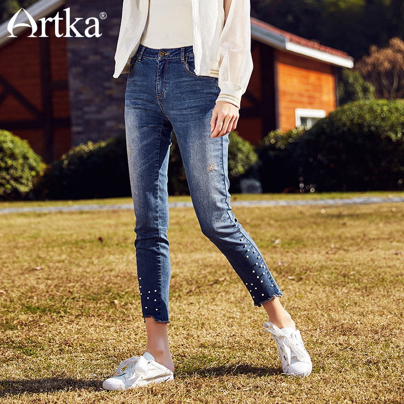 ARTKA Early Summer New Washes Pearl Rivet Leisure Ankle length Female Pencil Jeans KN10183C