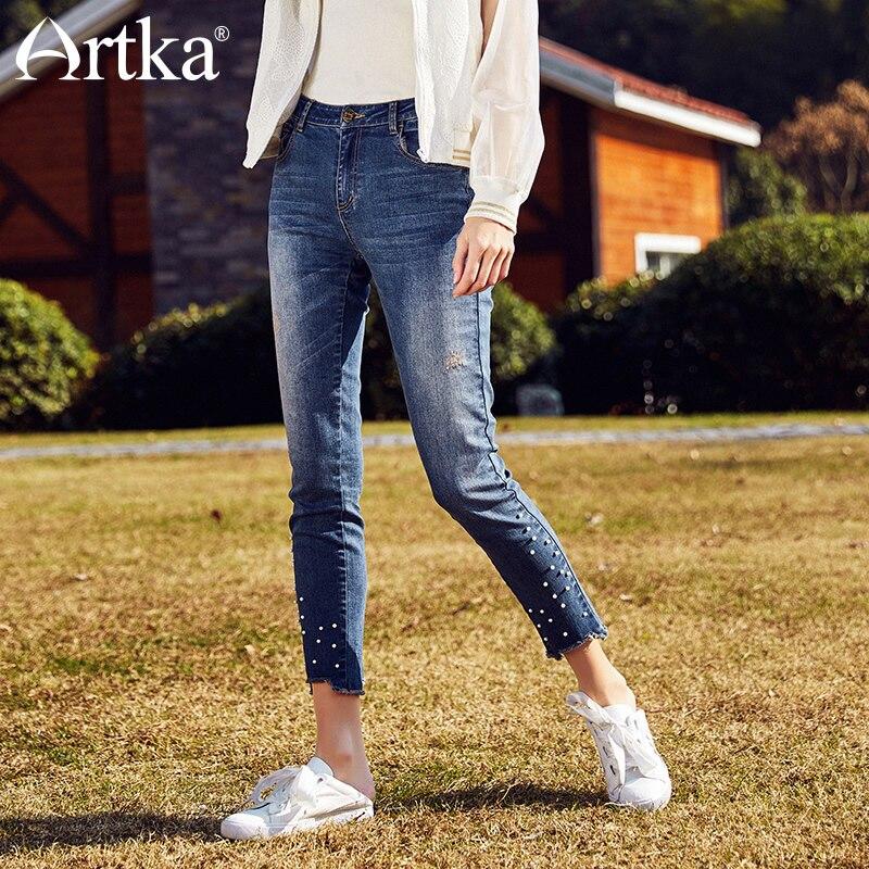 ARTKA début de l'été nouveaux lavages perle Rivet loisirs cheville longueur femme crayon Jeans KN10183C