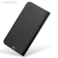 wangcangli Case For Samsung Note 8 Handmade Genuine Leather Wallet Flip Cover Card Slot Business Holster small litchi texture
