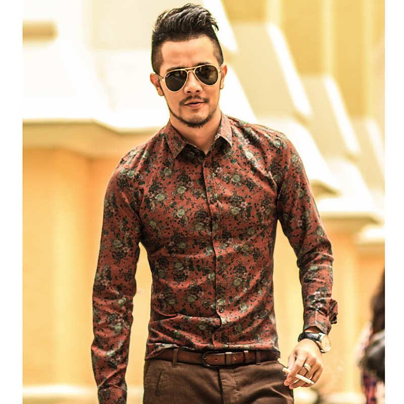 Для мужчин рубашка с цветочным принтом рубашки с длинным рукавом Для мужчин одежда с цветочным принтом Рубашки Винтаж льняную Повседневное...