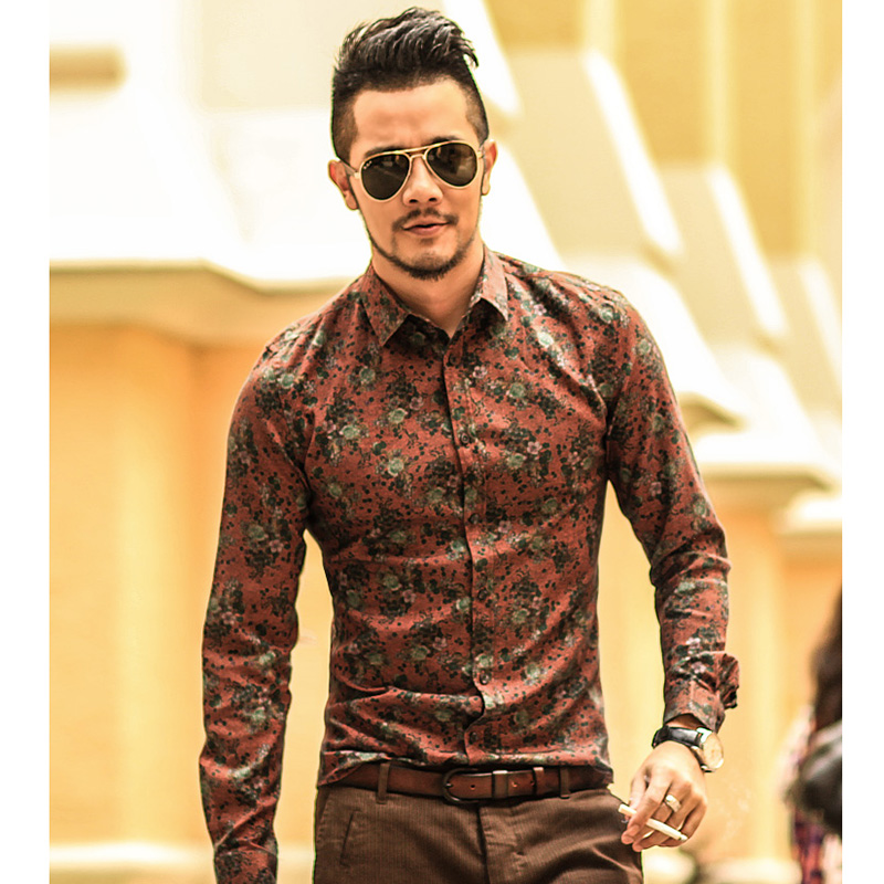 Men shirt Floral printing long sleeve shirts men clothes flowers printed shirts vintage Linen Casual Men Shirt new Spring S2004