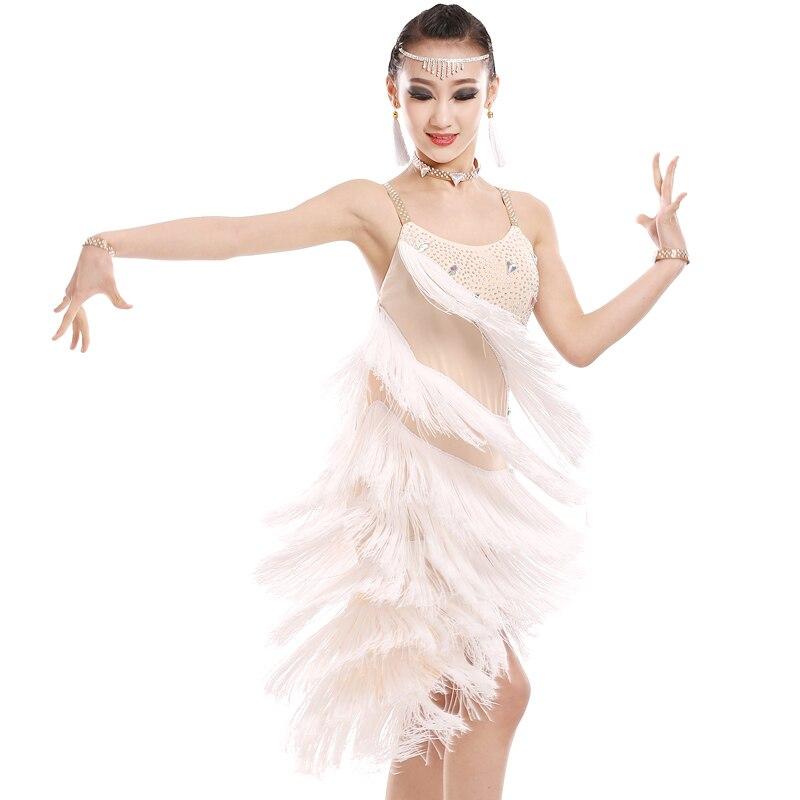 7c3c4a530 € 38.69 45% de DESCUENTO|Niños vestido de la danza moderna paillette Niñas  Latino danza para compeititon niños borla Salón danza Vestidos traje ...