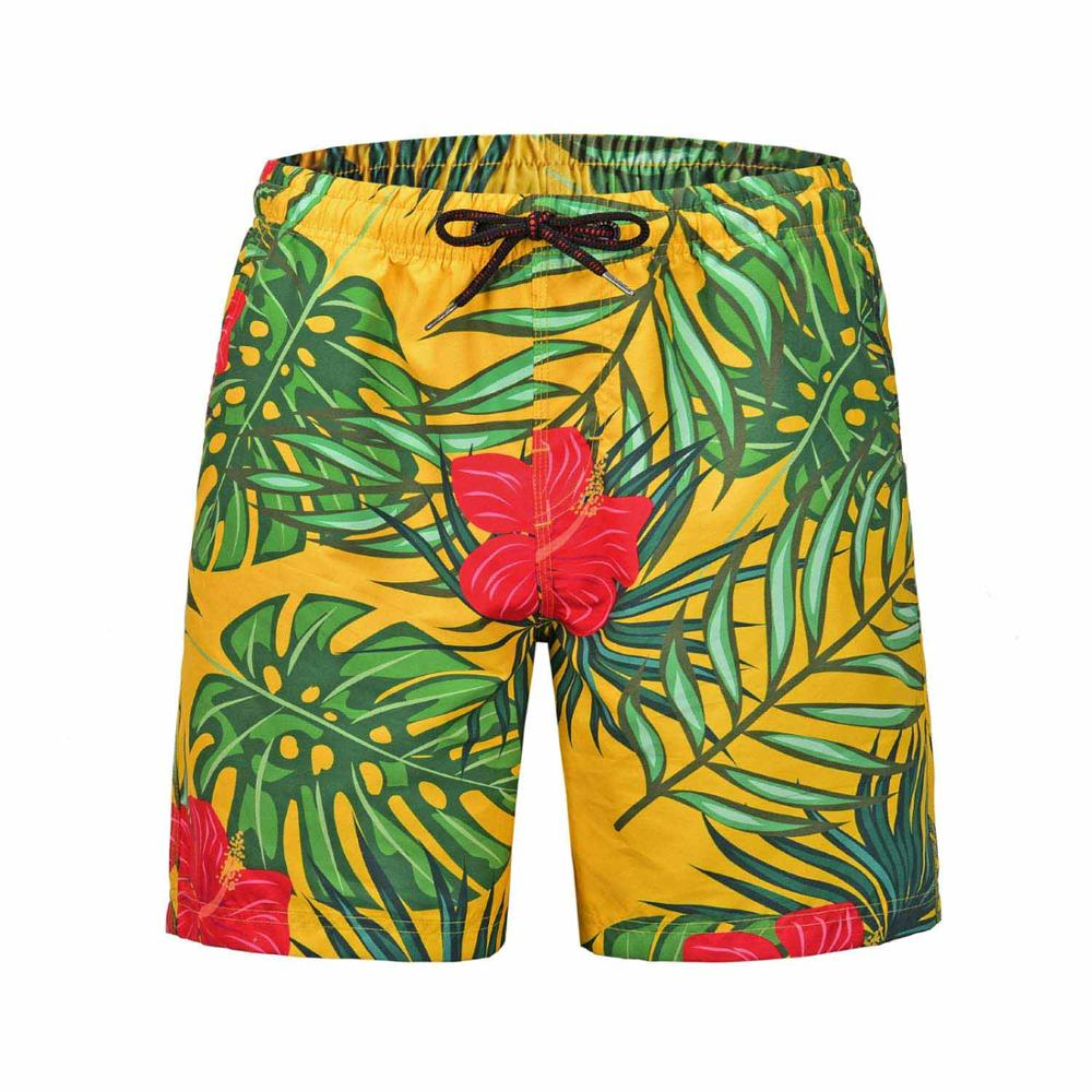 Mens Breathable Swim Trunks Pants Swimwear Shorts Slim Wear Flower 3D Printing Briefs Beach Board Shorts