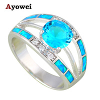 Anniversary Rings for Ladies Blue Fire Opal Silver Stamped Wholesale Fashion Jewelry Rings USA Sz #6#7#8#9 OR835A