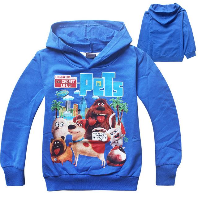 3-12 anos Inverno Outwear Novo 2016 meninos t shirt crianças camisa do bebê a vida secreta de animais de estimação crianças clothing roupas para o menino topos