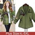 Jackets Women Autumn Coats Drawstring Military Parka Embroidery Patchwork Casual Plus Size 5xl chaquetas Mujer Jaquetas Feminina