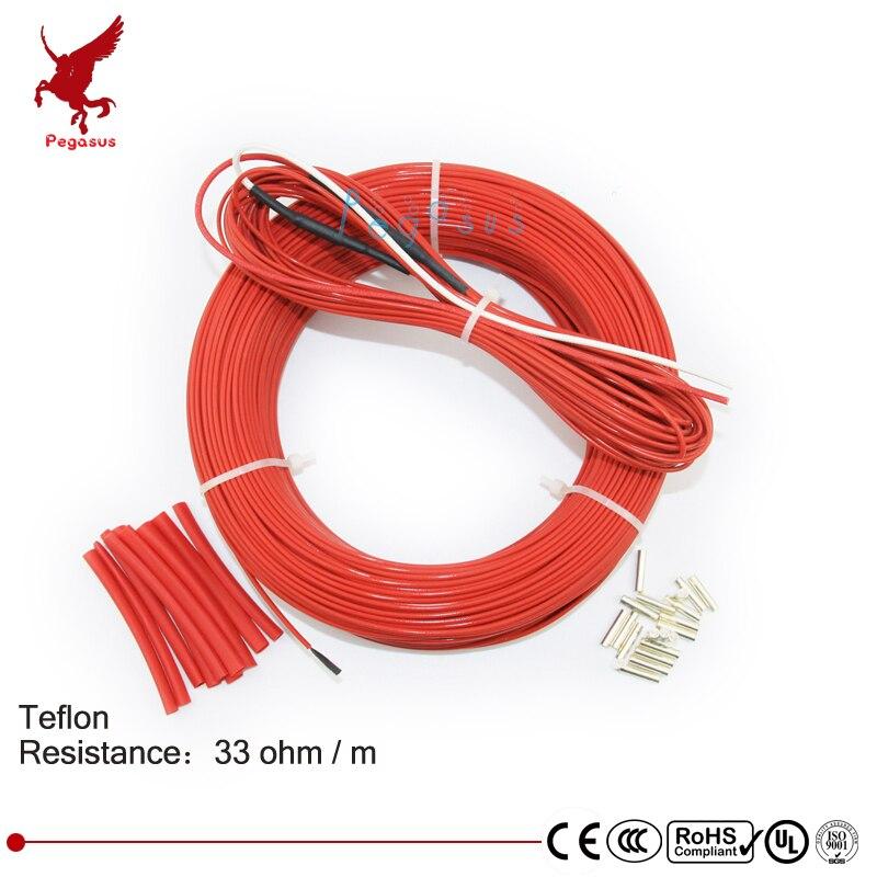 110 mètres 33ohm faible coût haute qualité téflon PTFE fibre de carbone fil chauffant câble chauffant système de chauffage par le sol infrarouge
