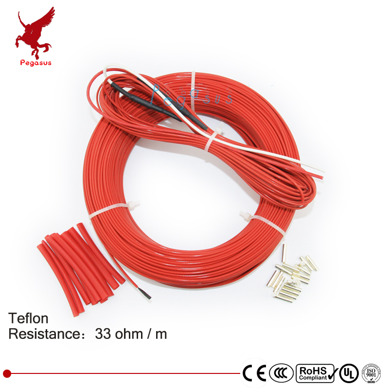 110meters 33ohm low cost high quality Teflon PTFE carbon fiber heating wire Heating cable Infrared floor heating system 12k20m 73w 33ohm hydrogen rubber carbon fiber heating wire safety and environmental protection the hot wire temperature floor
