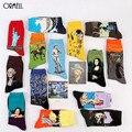 2016 Caliente 1 Par Moda Retro Calcetines Crew Calcetines Mona Lisa Pintura Arte Divertido Noche Estrellada Cómodo Calcetines de Diseño