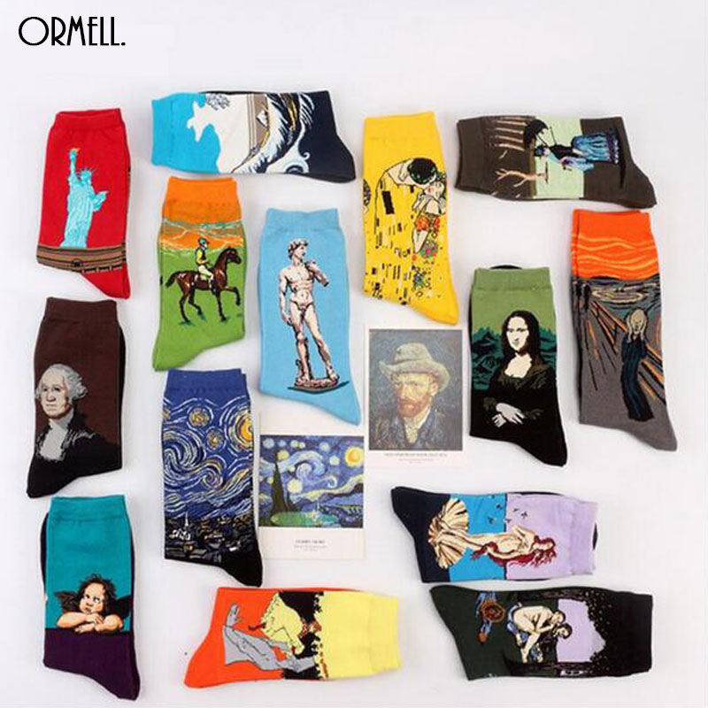 2016 Hot 1 Pair Fashion Retro Crew Socks Painting Mona Lisa Art Socks Funny Starry Night Comfortable Designer Socks ...