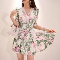 Women Mini Floral Dress Summer Beach Short Sleeve V neck Evening Party dress 2019 Summer style