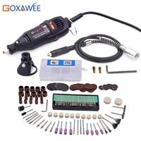 Stile GOXAWEE 110 V 130 W Elettrico Mini Trapano Dremel Utensile Rotante Elettrico Mini Grinder w/Albero Flessibile 160 pz Accessorio Strumento di Potere