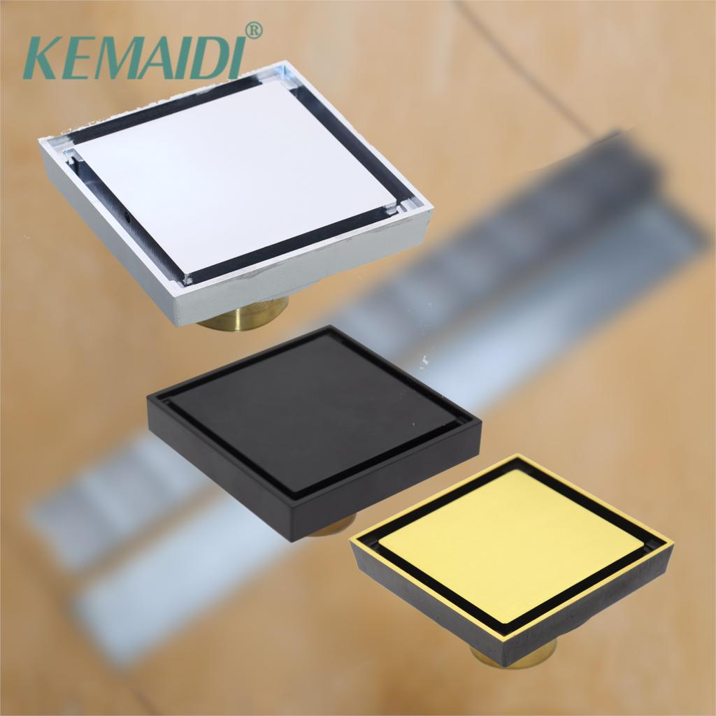 KEMAIDI 10*10cm Floor Drains Stainless Steel Square Shower Floor Drains Tile Insert Drain Channel Bathroom Kitchen Waste Grate